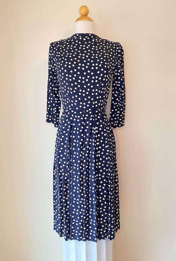 40s Vintage Rayon Swing Dress Tea Dress Polka Dots