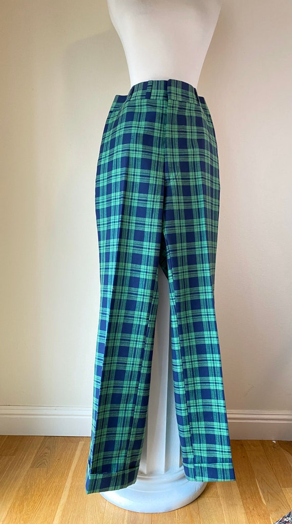 Vintage 70s Plaid Linen Golf Pants Bells Cuffs