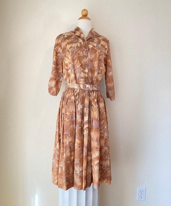 50s Shirtwaist Housewife Dress Matching Belt Judy… - image 1