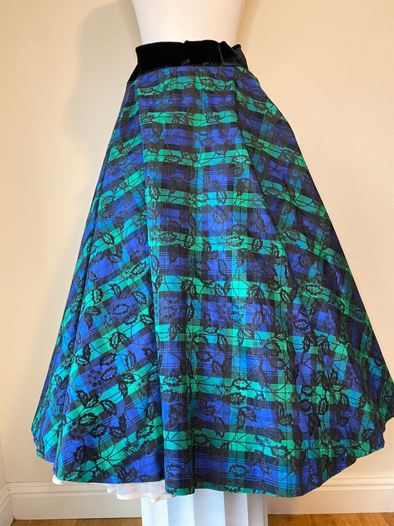 50s Flocked Taffeta Full Circle Skirt