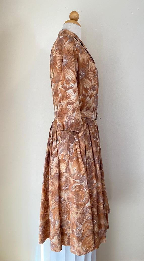 50s Shirtwaist Housewife Dress Matching Belt Judy… - image 4