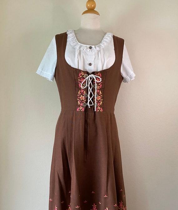Vintage 50s German Dirndl Embroidery Blouse Lg