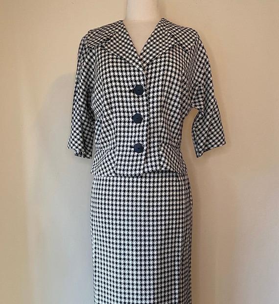 Vintage 1940s Lora Lenox Suit Houndstooth Rockabil