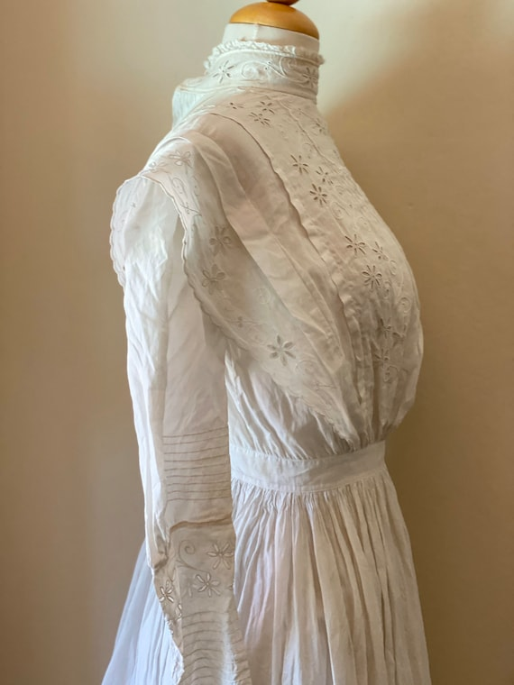 Antique Edwardian Cotton Summertime Day Dress Vint