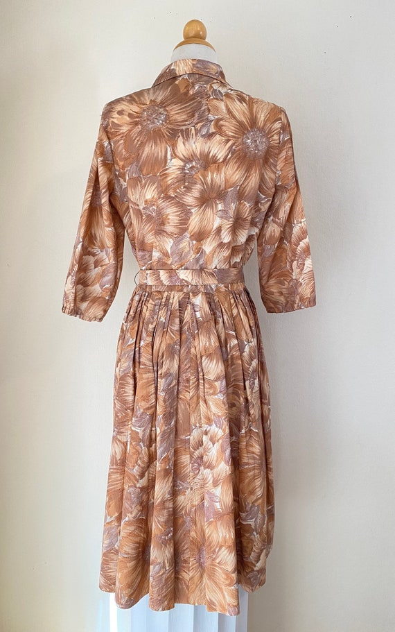 50s Shirtwaist Housewife Dress Matching Belt Judy… - image 5
