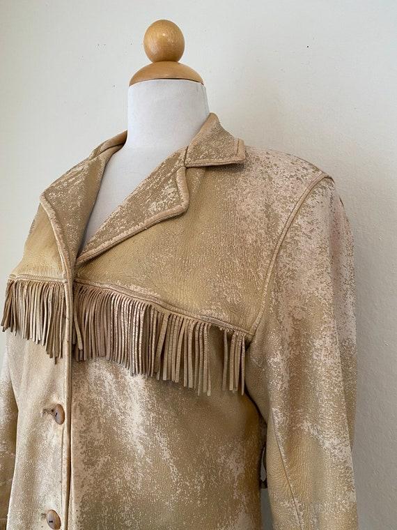 50s Vintage Leather Buckskin Fringed Cowgirl Jack… - image 5