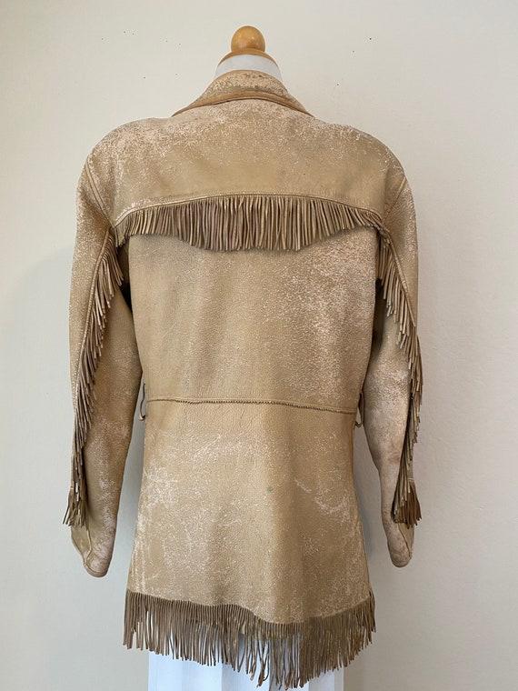 50s Vintage Leather Buckskin Fringed Cowgirl Jack… - image 4