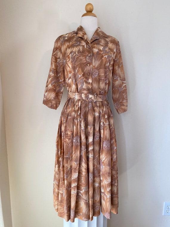 50s Shirtwaist Housewife Dress Matching Belt Judy… - image 3