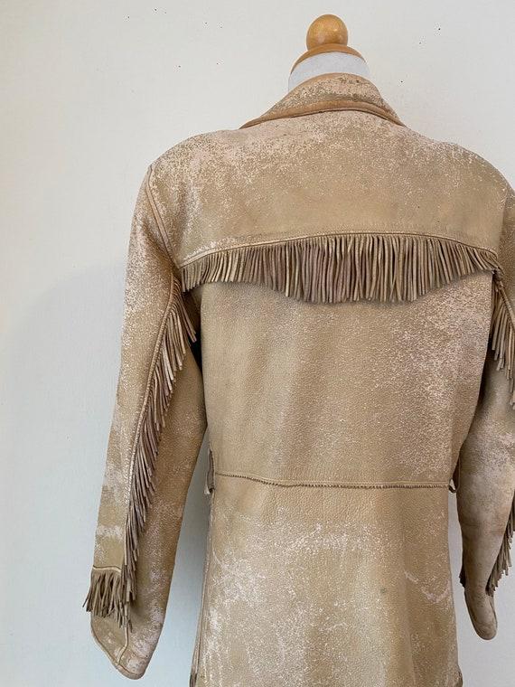 50s Vintage Leather Buckskin Fringed Cowgirl Jack… - image 6