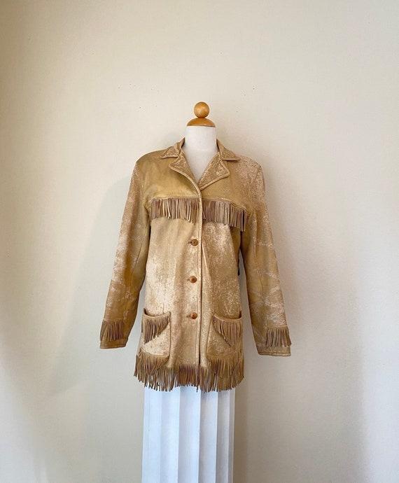 50s Vintage Leather Buckskin Fringed Cowgirl Jack… - image 1