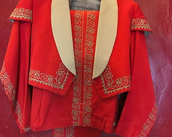 1930's vintage Red Mariachi Mexican Band uniform 2 pc