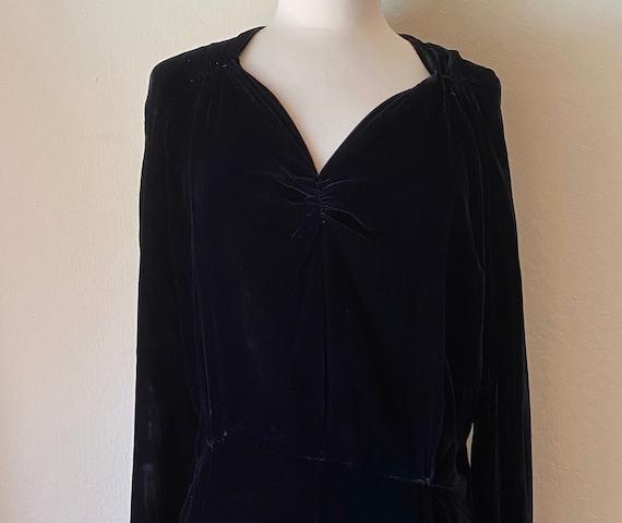Vintage 30s Black Velvet Evening Dress LG