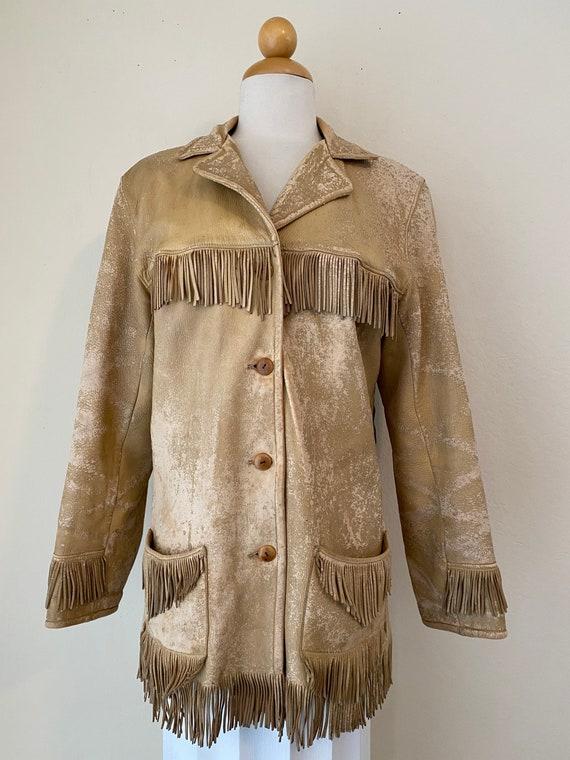 50s Vintage Leather Buckskin Fringed Cowgirl Jack… - image 2