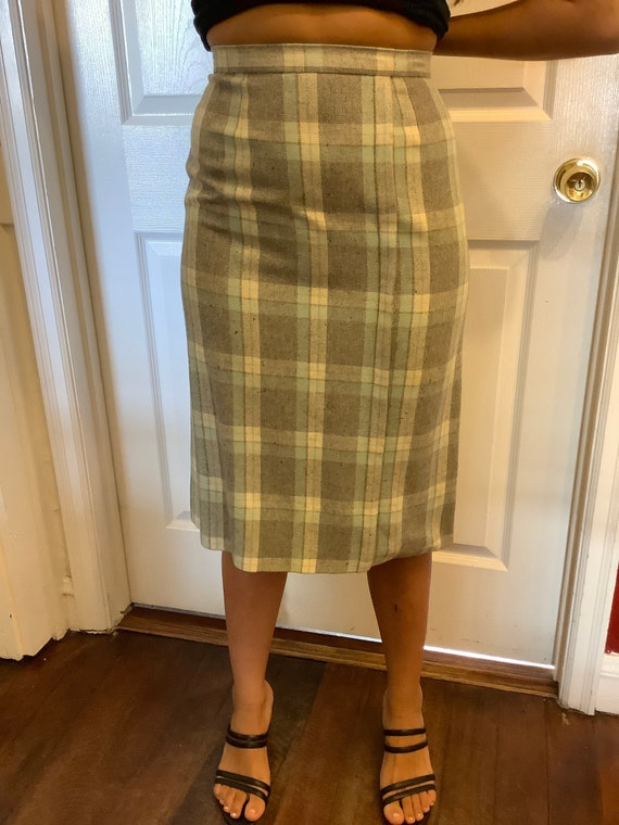 1950s wool plaid pencil skirt