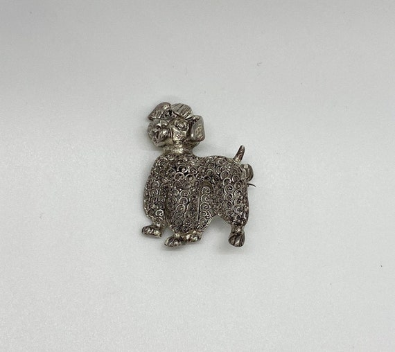 Vintage 1950's Sterling Silver Poodle pin