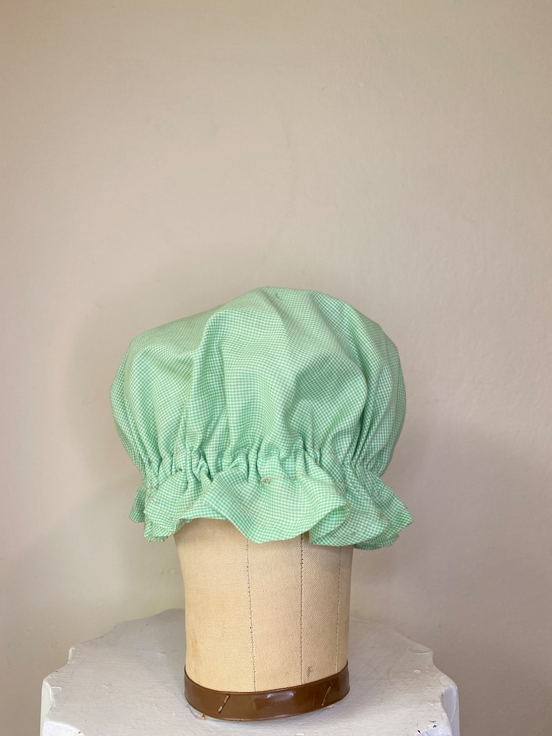 New Gingham Mop Mob Ragdoll Checkered Night Cap Green and White