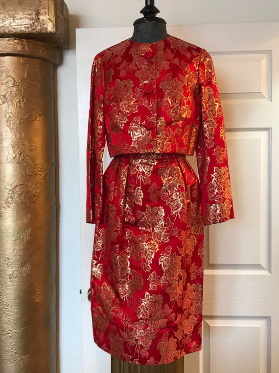 1960's Vintage Silk Cocktail Dress with Jacket Fra