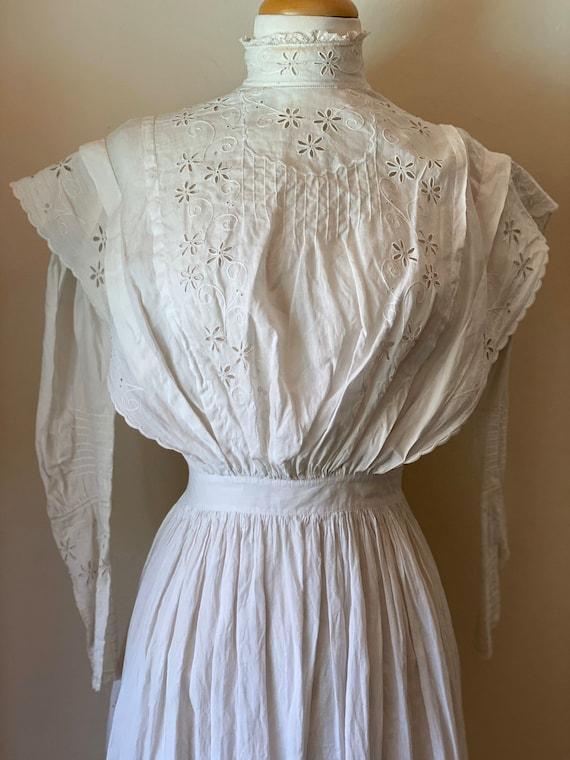 Antique Edwardian Cotton Summertime Day Dress Vin… - image 2