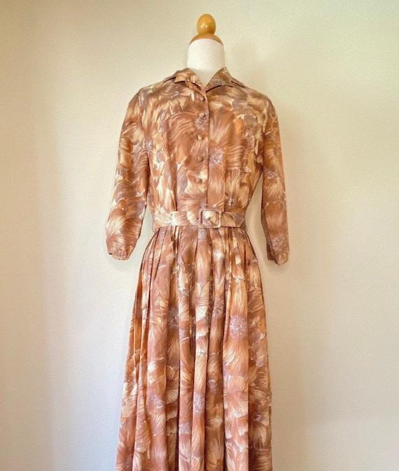 50s Shirtwaist Housewife Dress Matching Belt Judy… - image 2