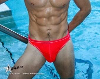 Mullock, Coral, American made Full cut swim brief, bathing suits, starwear.us,