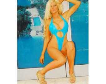 Lianna thong back, Turquoise wet look, American Made, extreme one pc swimsuit, swimsuit, swimwear, starwear.us, sexy swimwear, bikinilifeusa