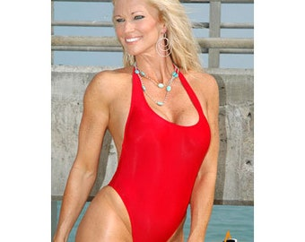 Orbit, Crimson Red, American Made, scoop neck halter with dip back one piece swimwear, bathing suits, swimsuits, one pieces