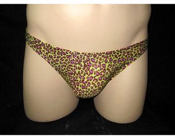 Lynx, Purple and Lime, smooth seamless front and back bikini brief swimsuit, American made, bathing suits, swimwear, swimsuits, bikini