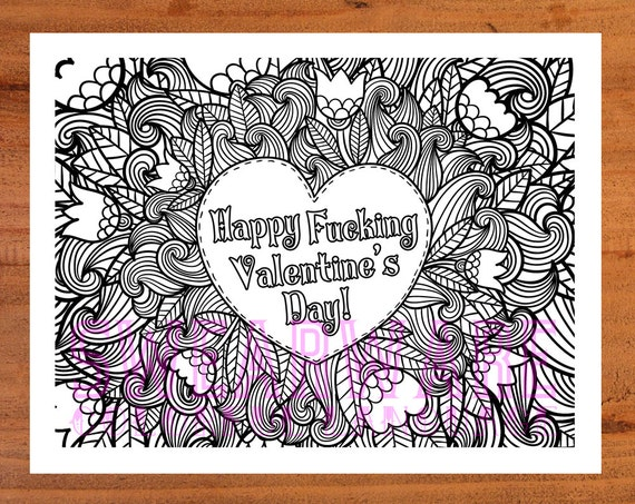 Adult Coloring Page Printable INSTANT DOWNLOAD pdf. Swear | Etsy | 453x570