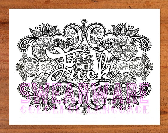 Fuck Swear Word Coloring Page Printable Instant Download Etsy