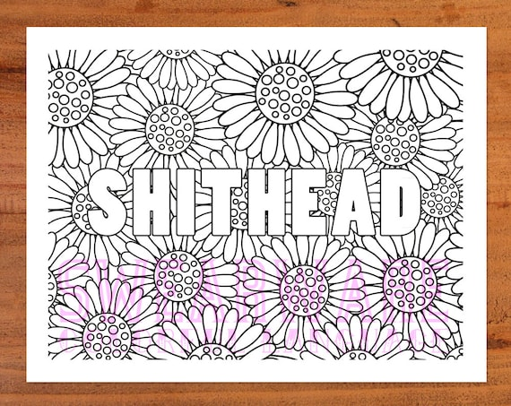 Shithead Swear Word Coloring Page Printable Instant Download Etsy