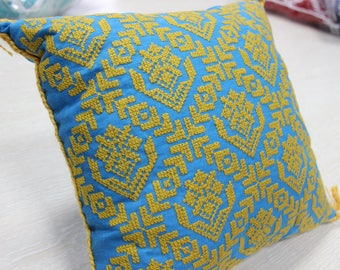 Christmas gift. Decorative embroidered pillow in Ukrainian style