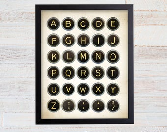 Vintage Typewriter Keys Print. Typewriter Art. Typewriter Print. Typewriter Key Art. Writer Gift. Office Decor. Office Wall Art. Office. 47