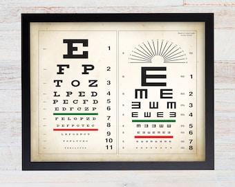 Snelling Eye Chart Print. Optometry Poster. Eye Anatomy. Eye Physiology. Optometry. Optician Wall Art. Ophthalmologist. Eye Chart Art. 117