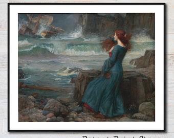MIRANDA JW Waterhouse 10x7 print Pre-Raphaelite Art THE TEMPEST