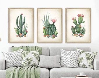 Watercolor Cactus Print Set. Cactus Prints. Cactus Art Prints. Cactus Posters. Southwestern Art. Desert Decor. Desert Art. Botanical Prints