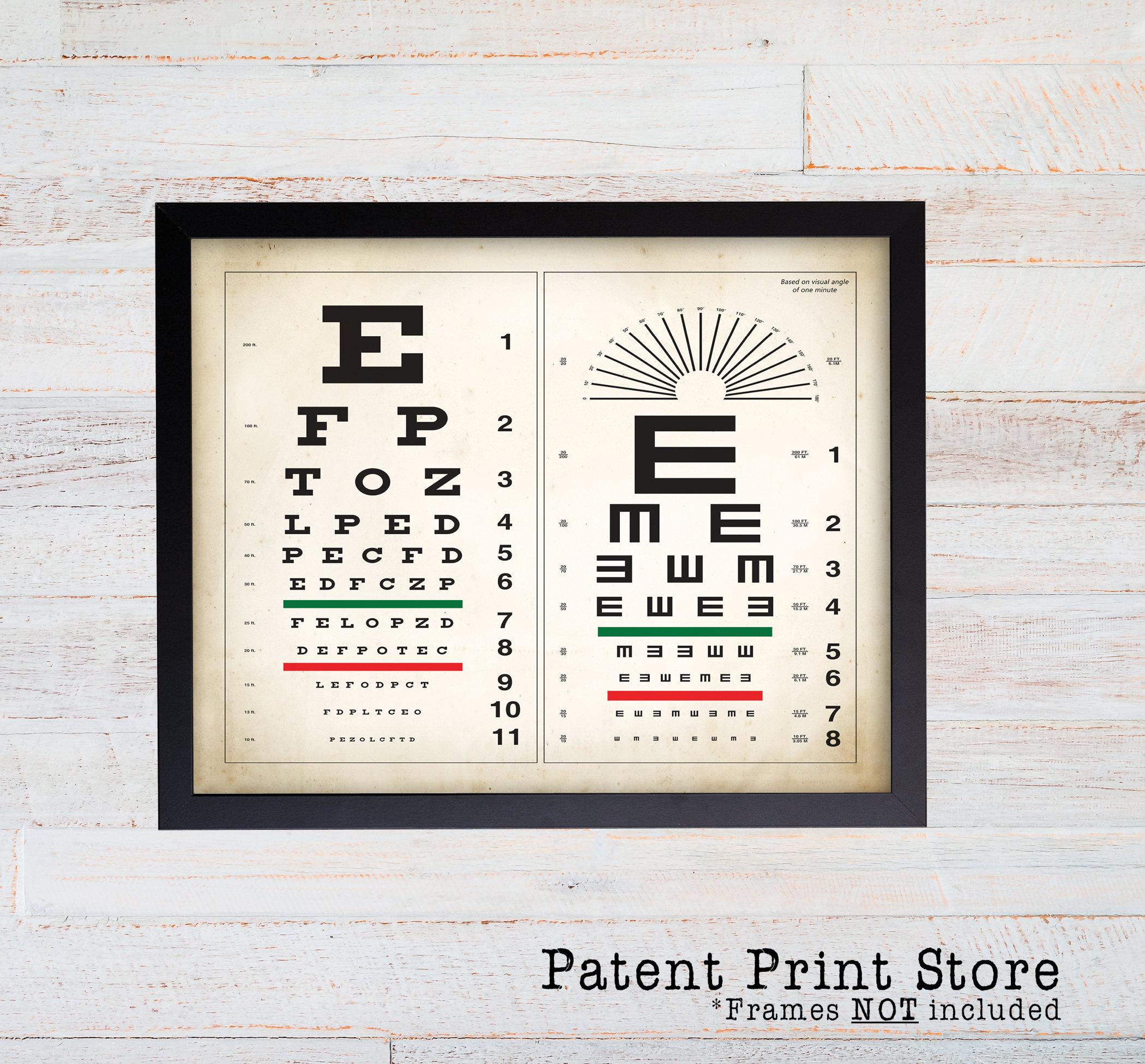 Snelling Eye Chart Print. Optometry Poster. Eye Anatomy. Eye ...
