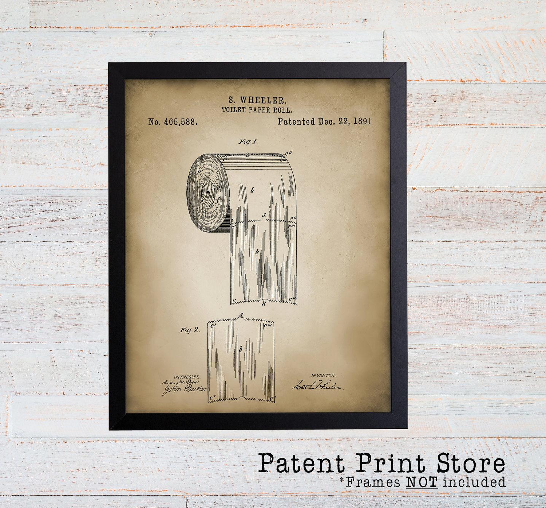 Bathroom Patent Prints. Patent Art. Bath Patent Wall Art. Bathroom Patent  Posters. Toilet Paper Patent. Rustic Bathroom Wall Decor. (019)