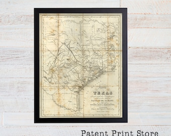 Antique Texas Map. Texas Print. Texas Art. Historic Map. Map Decor. Map of Texas. Rustic Texas. Texas Art. Texas Decor. Texas Wall Art. 37