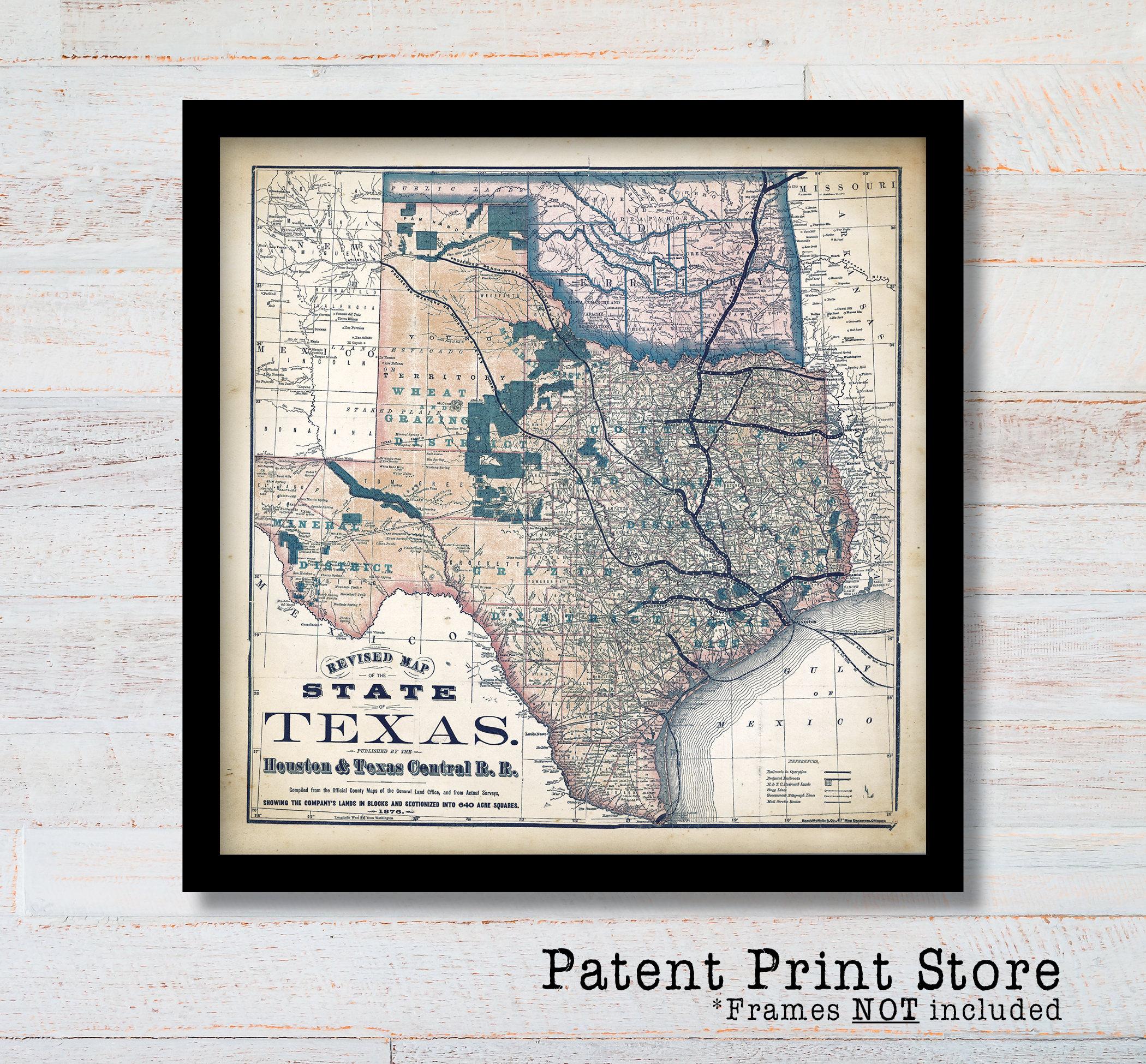 Full Map Of Texas.1876 Texas Map Texas Print Texas Art Historic Map Map Decor Map