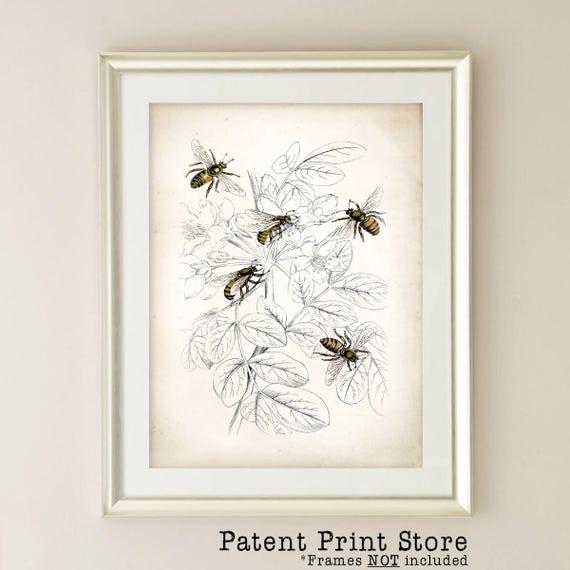 Vintage Honey Bee Art Print Farmhouse Decor Farmhouse Wall Etsy