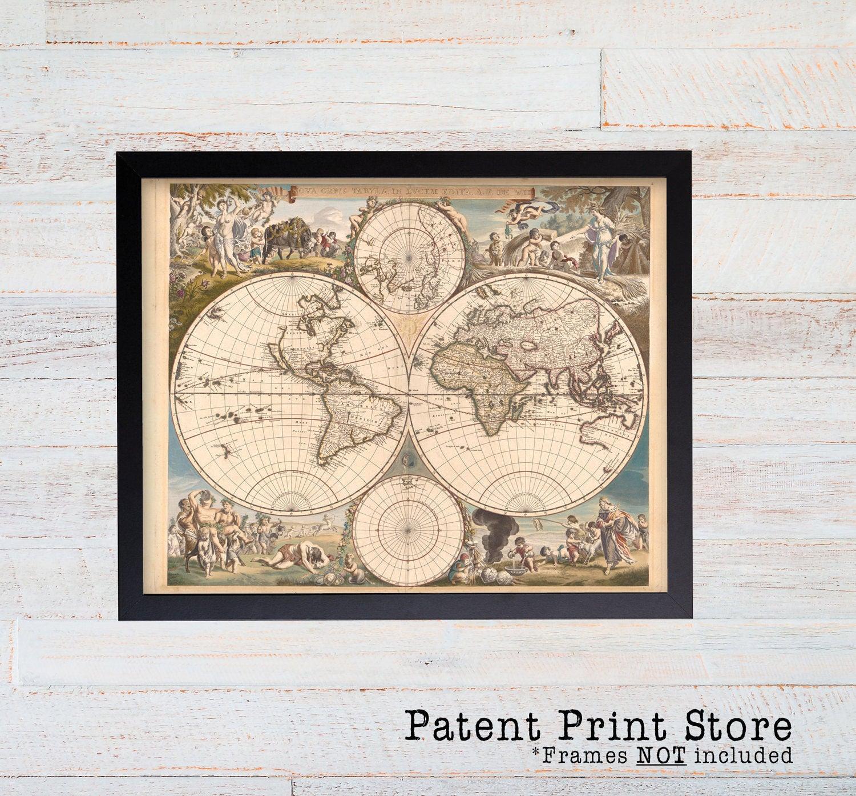 Antique World Map Wall Art. World Map Print. World Map Poster. Map ...