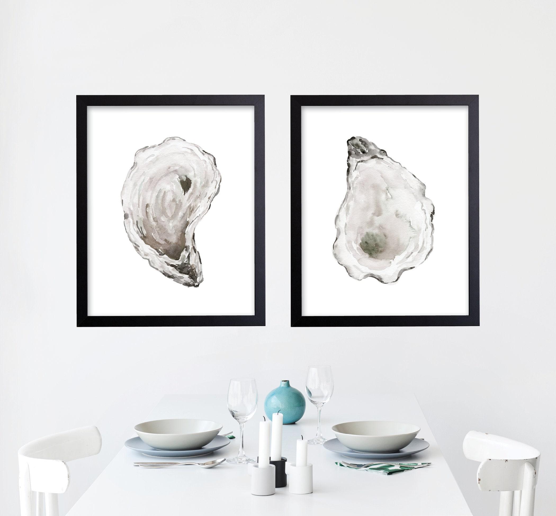 Watercolor Oyster Shell Prints Beach House Decor Coastal Art Seaside Wall Kitchen Dining Room Bath