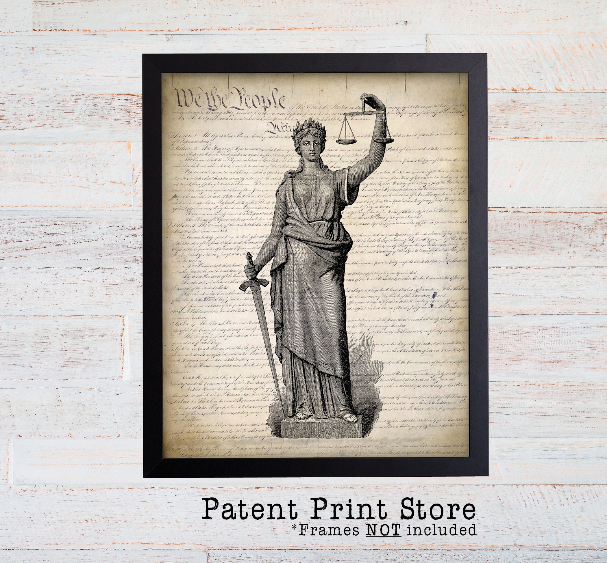 Lady Justice Print. Law Office Art Print. United States Constitution  Poster.. Attorney Print. Lawyer. Judge. Law Office Decor. Lawyer Gift.