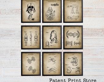 Star Wars Patent Prints. Star Wars Poster. Star Wars Art. Millenium Falcon. Darth Vader. Patent Art. Patent Print. Boy Bedroom. Nursery. 129