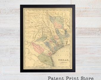 Antique Texas Map. Texas Print. Texas Art. Historic Map. Map Decor. Map of Texas. Rustic Texas. Texas Art. Texas Decor. Texas Wall Art. 38