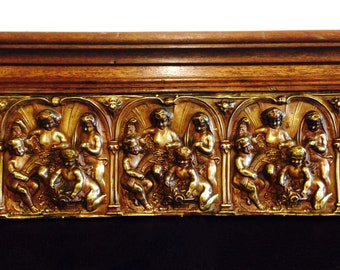 adorned with wood panel of children in brass