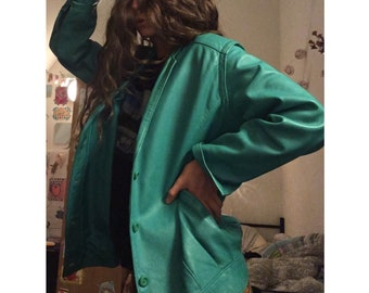 Mint green leather vintage jacket 80s 90s