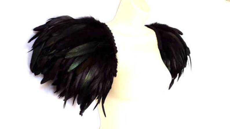 9dce4c631b2 Black festival feather epaulettes Black feather wings Feather