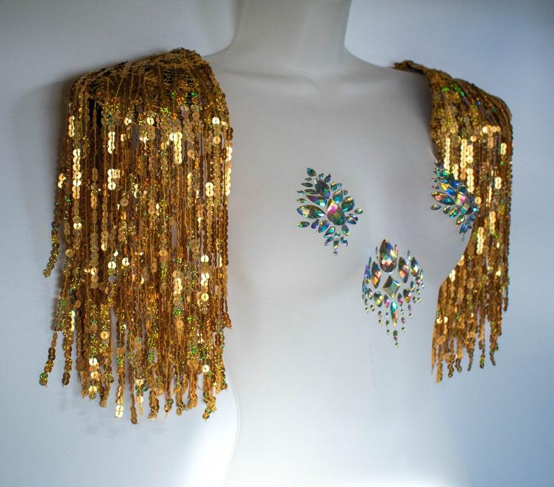 Burning Man gold epaulettes Fringed sequin tassel festival shoulder harness Carnival Cyber Rave Drag Playa wear