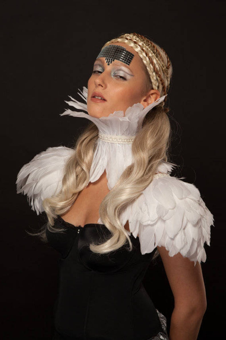 White festival feather epaulettes Bridal feather shoulder pieces Burning Man festival clothing Ice Queen White party Valkyrie